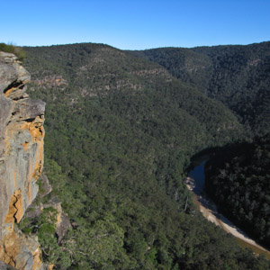 Looking down from the cliffs above the Colo River, Wollemi National Park