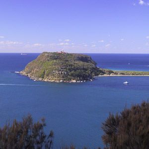 From West Head, looking down to Barrenjoey Peninsula and the lighthouse, Ku-ring-gai National Park